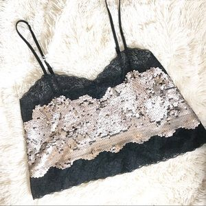 Express Lace and sequin crop top Size Small